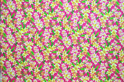 pink and yellow floral on pink