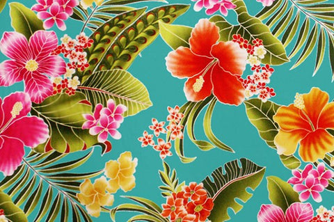 Tropic Floral with Turquoise background