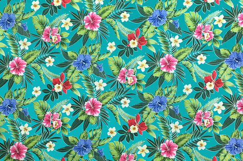 Dense floral pattern with turquoise background