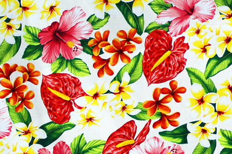 red and yellow floral on white
