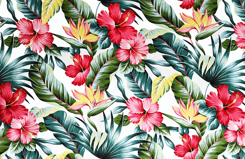 leafy red, pink, and yellow floral