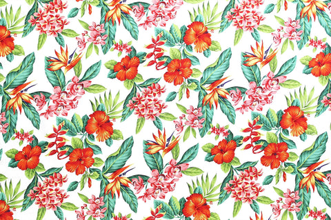 red and pink floral on white