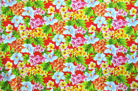 bright floral on red