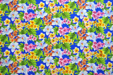 Multi-color Floral Pattern with Royal Blue Background