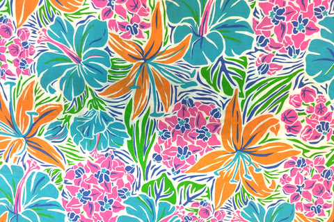 Tropical Flowers with White Outlines