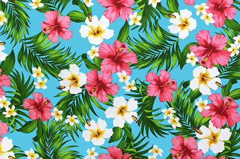 White and pink flowers on light turquoise background
