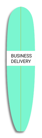seafoam surfboard with text that reads Business Delivery