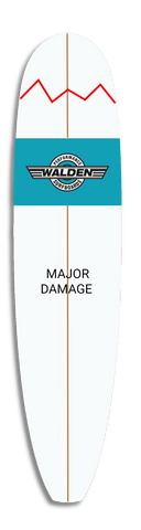 a surfboard with major damage indicated by a red jagged line representing a break in the board