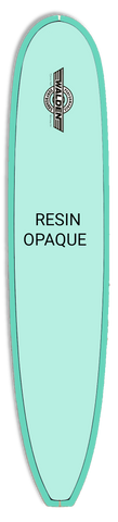 Teal-green surfboard that reads Resin Opaque