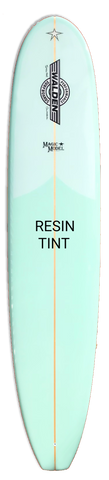 Mint surfboard that reads Resin Tint