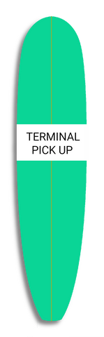 green surfboard with text that reads terminal delivery