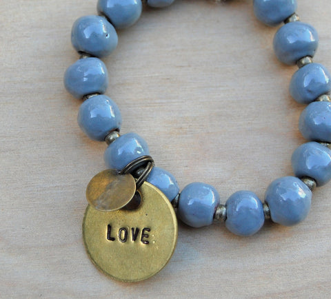 Simbi clay bead bracelet : gray