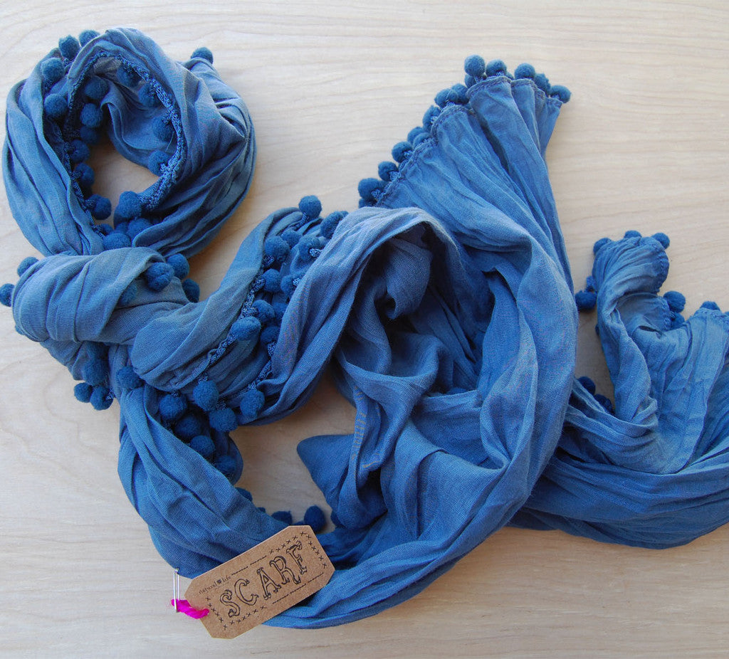 SALE Pom Pom Scarf Deep Blue