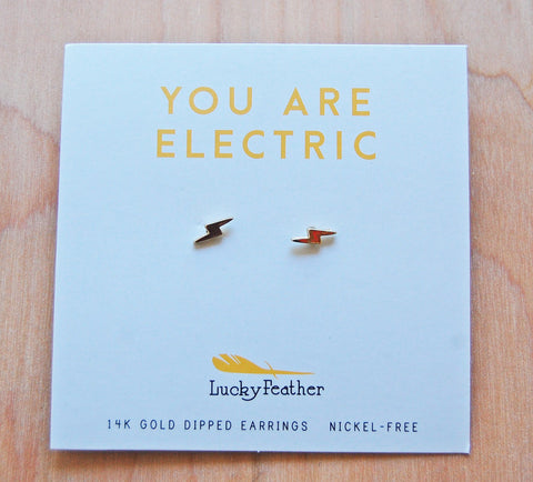 Lucky Feather Earrings : bolt Emoji