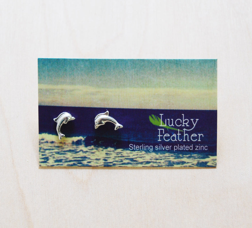 Lucky Feather Earrings : Dolphin