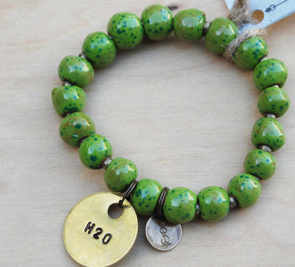 SALE Simbi clay bead bracelet : green