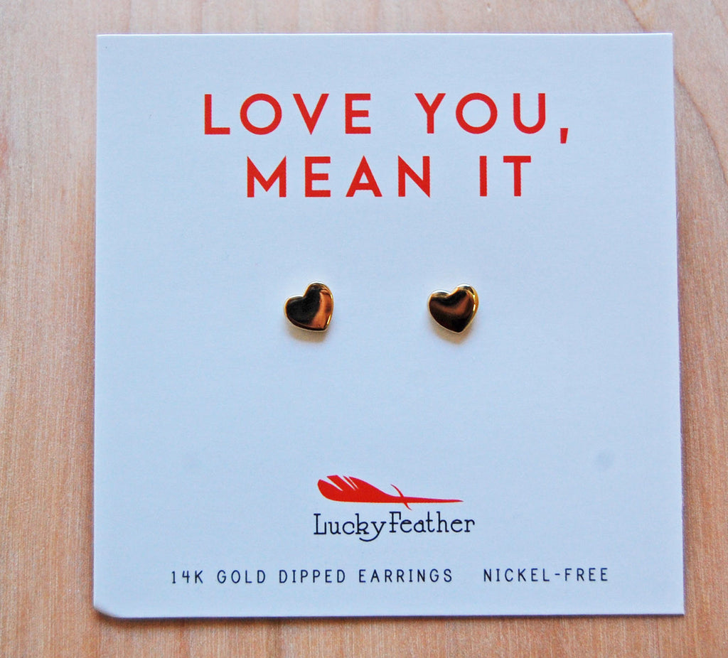 Lucky Feather Earrings : Heart Emoji