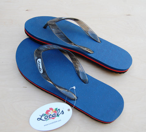 Locals Slippers : Navy/Red Stripe