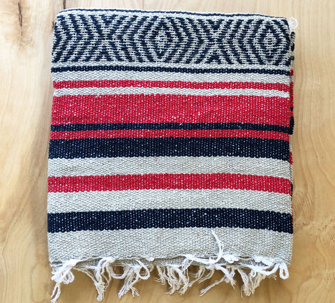 Mexican Blanket: Navy-Red