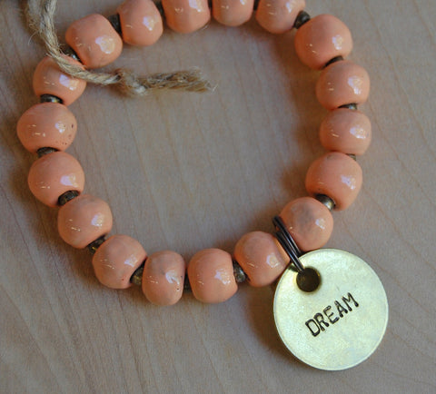 Simbi clay bead bracelet : Papaya
