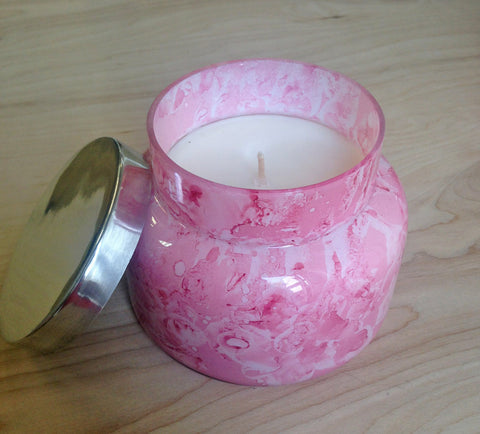 Capri Blue  Candle : Watercolor pink