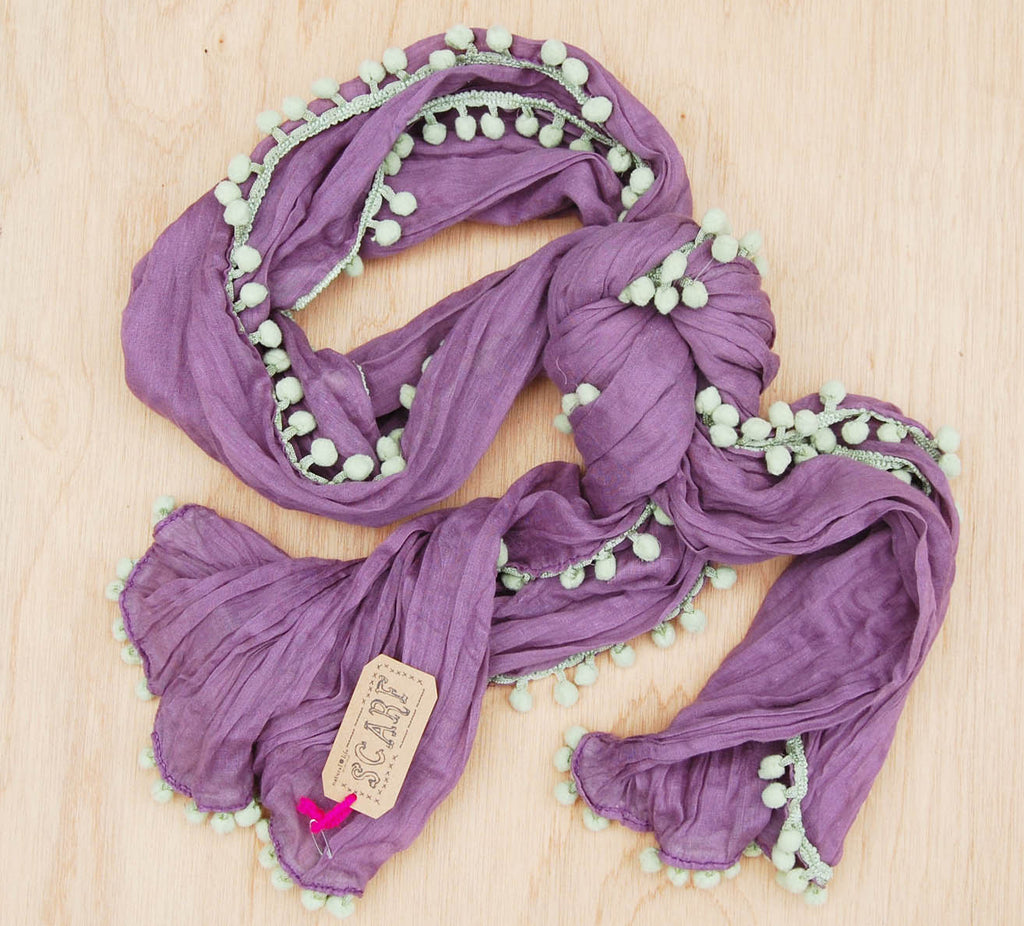 Sale Pom Pom Scarf Purple
