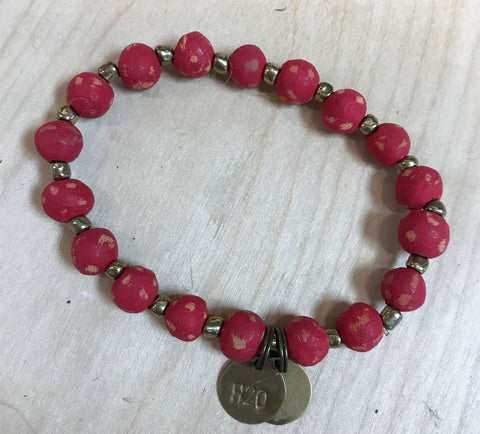 Simbi clay bead bracelet : red