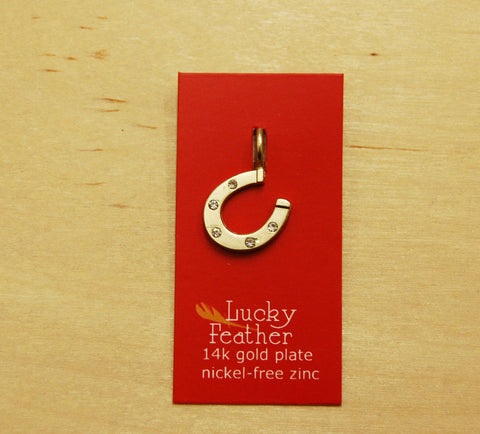SALE Lucky Feather Charm : horse shoe
