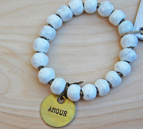 Simbi clay bead bracelet : white