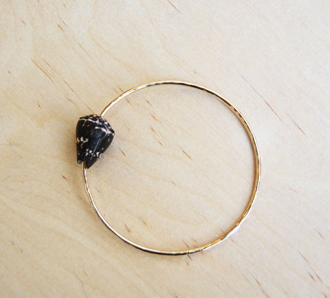 Bella Beach Gold Bangle : brown cone