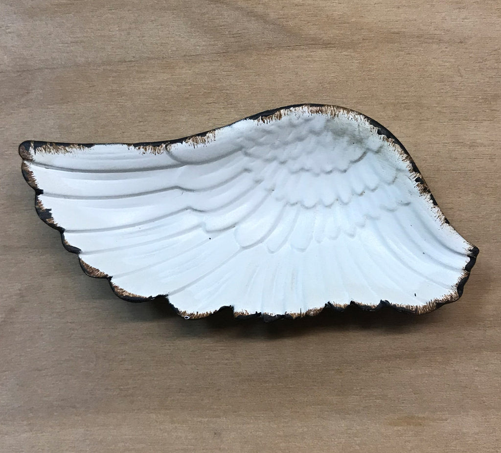 Pewter wing tray: white