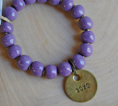 Simbi clay bead bracelet : Berry
