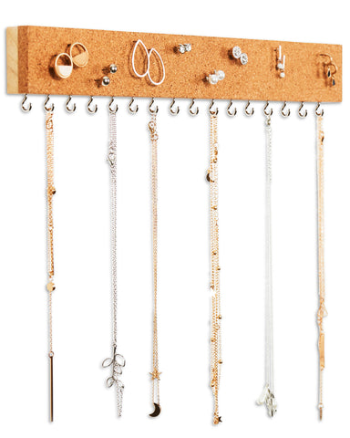 Stud Earrings and Necklace Organizer with Cork Board