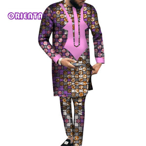 African Men Clothes Long Sleeve Shirt Gown and Pants Traditional African Bazin Riche Print Tops - Chocolate Boy Ltd