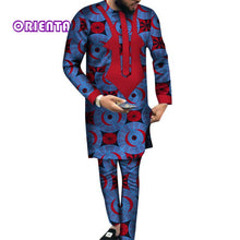 Load image into Gallery viewer, African Men Clothes Long Sleeve Shirt Gown and Pants Traditional African Bazin Riche Print Tops - Chocolate Boy Ltd