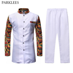 White African Dashiki Dress Shirt Pant Set 2 Pieces Outfit - Chocolate Boy Ltd