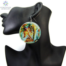 Load image into Gallery viewer, Painted African Eco Tribal Wood Drop Earrings Black Headwrap Woman Pattern Afrocentric Art Jewelry Accessories