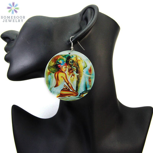 Painted African Eco Tribal Wood Drop Earrings Black Headwrap Woman Pattern Afrocentric Art Jewelry Accessories