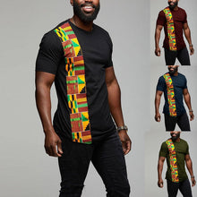 Load image into Gallery viewer, African Kente T Shirt Colour Print Top Wear Men's Ankara Style Panel Tees For Men Short Sleeve Black - Chocolate Boy Ltd