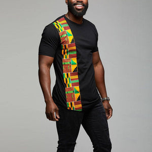 African Kente T Shirt Colour Print Top Wear Men's Ankara Style Panel Tees For Men Short Sleeve Black - Chocolate Boy Ltd