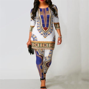 Women's Top & Pants Suit Dashiki Print Ladies Clothes Robe Fashion Clothing - Chocolate Boy Ltd