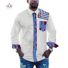 Load image into Gallery viewer, Men African Clothing Dashiki Lapel Top Shirt Bazin Riche