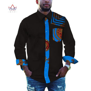 Men African Clothing Dashiki Lapel Top Shirt Bazin Riche