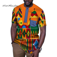 Load image into Gallery viewer, Fashion African Men Clothes Causal Party Men Short Sleeve O Neck Tops Tees Dashiki - Chocolate Boy Ltd