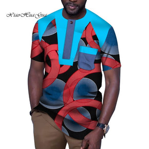 Fashion African Men Clothes Causal Party Men Short Sleeve O Neck Tops Tees Dashiki - Chocolate Boy Ltd