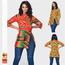 Load image into Gallery viewer, African Women Clothes Bazin Riche Dashiki T Shirt Traditional Print Clothing - Chocolate Boy Ltd