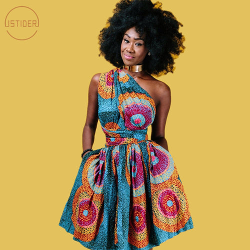 African Dresses For Women Ankara Party Dress African Tradition Clothing Off Shoulder Multi-Way - Chocolate Boy Ltd