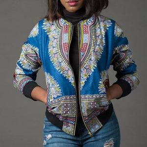 African Ankara Print Four Season Long Sleeve Casual Jacket Traditional Tribal