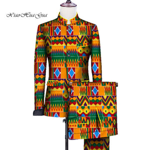 African Men Print Wedding Party Fancy Blazer Suit Jacket Tops - Chocolate Boy Ltd