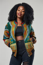 Load image into Gallery viewer, Fashion Coat African Clothes Dashiki Print Tribal Sexy Jacket Ladies Bomber Zip Pocket Sweatshirt - Chocolate Boy Ltd